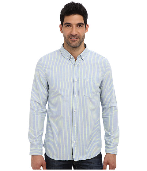 Mavi Jeans - Striped Shirt (Blue) Men's Long Sleeve Button Up