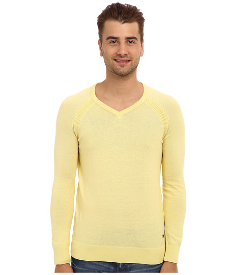 Mavi Jeans - V-Neck Sweater (Yellow) Men's Long Sleeve Pullover