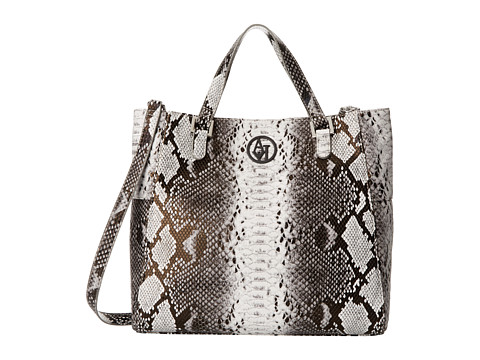 Armani Jeans - Convertible Snakeprint Tote Bag (Pearl) Satchel Handbags