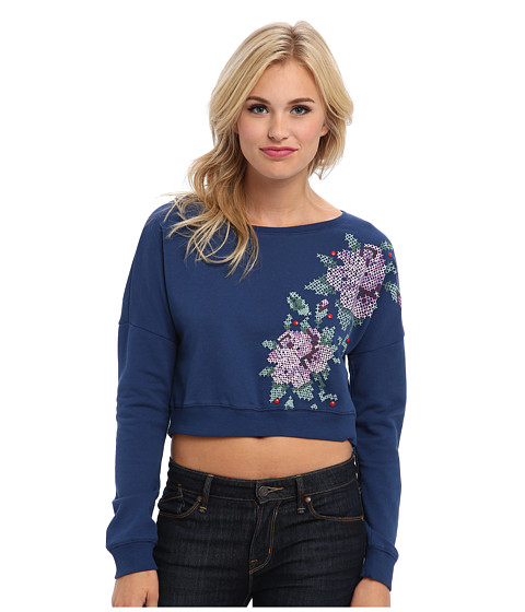 Mavi Jeans - Flower Printed Sweatshirt (Blue) Women's Sweatshirt