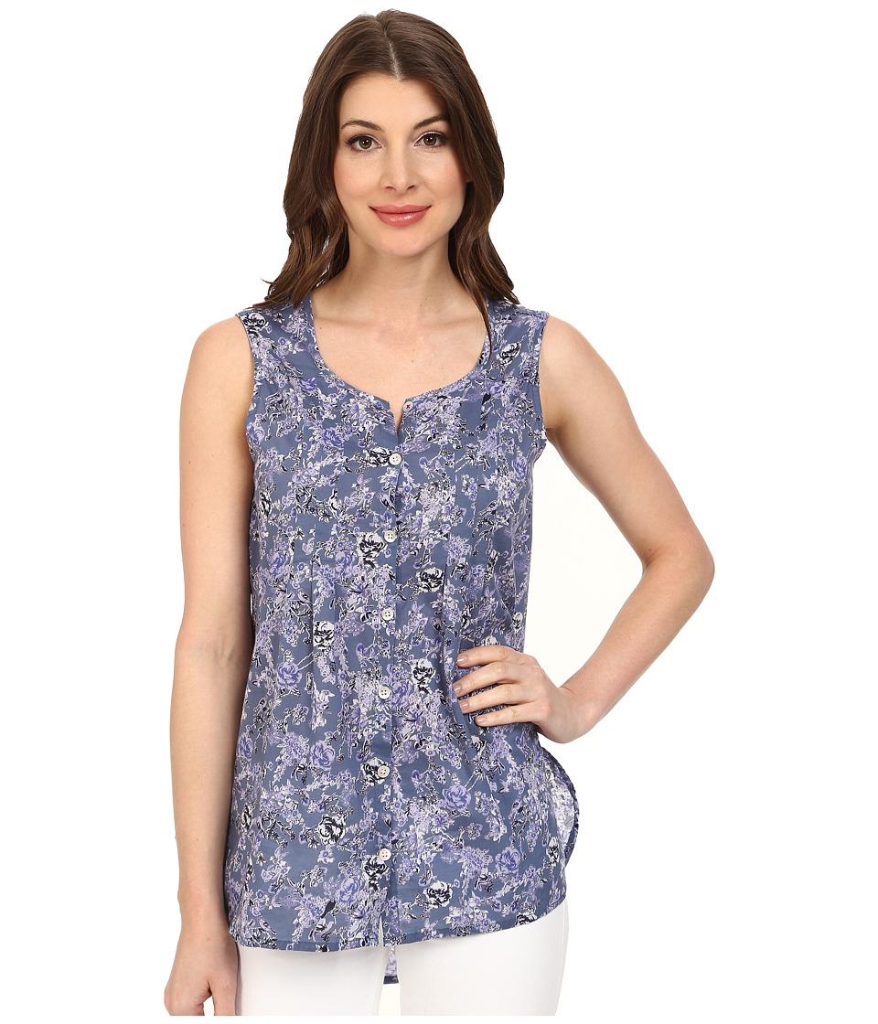 Jag Jeans - Ophelia Printed Voile Sleeveless Top (Sea Blue) Women's Sleeveless