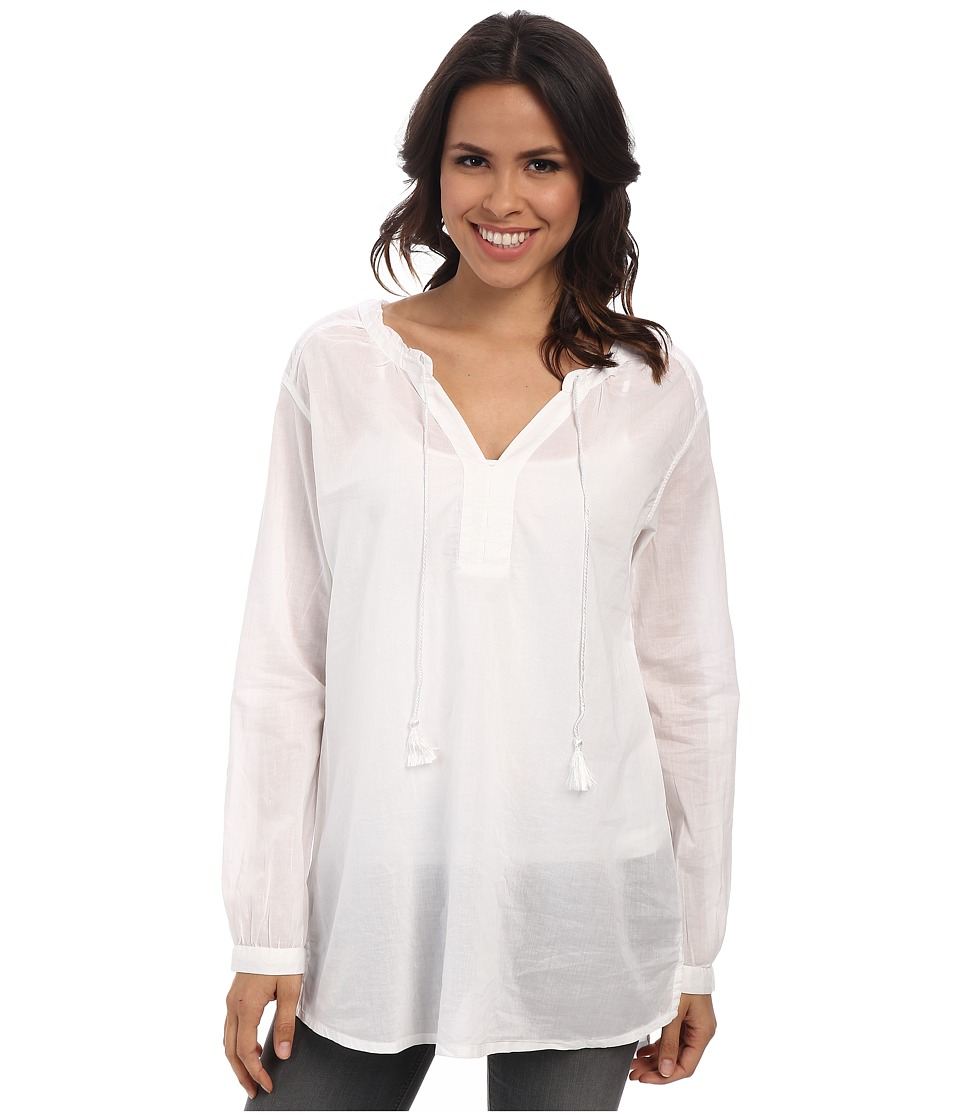 Jag Jeans - Clara Cotton Voile Relaxed Fit Tunic (White) Women's Blouse plus size,  plus size fashion plus size appare