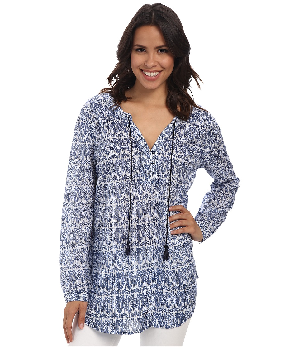 Jag Jeans - Clara Tiki Cotton Relaxed Fit Tunic (Sea Blue) Women's Blouse