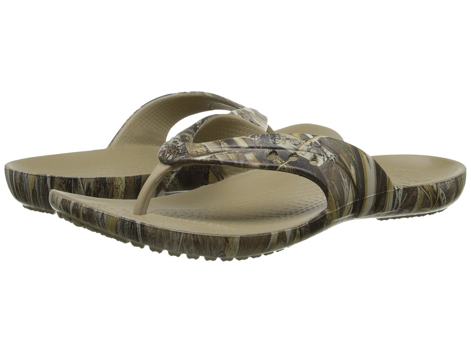 Crocs - Kadee Flip Realtree Max-5 (Khaki) Women's Toe Open Shoes