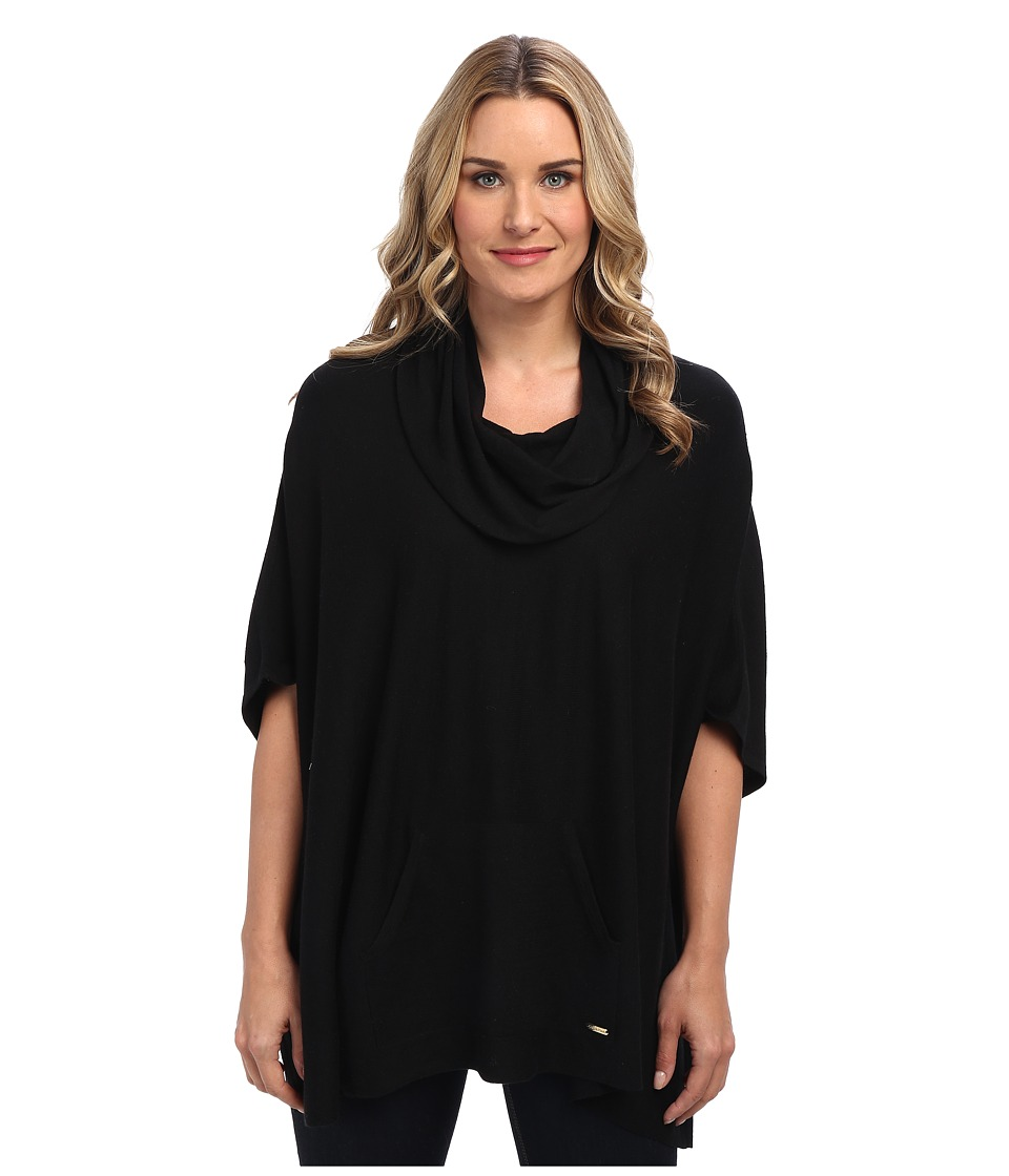Calvin Klein - Cowl Poncho w/ Pocket (Black) Women