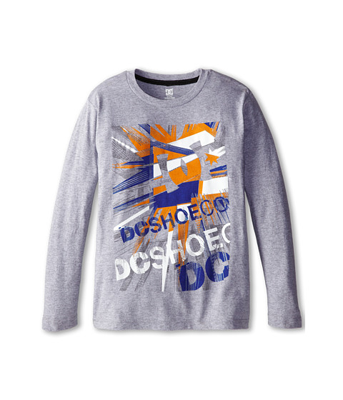 DC Kids - Metal L/S Tee (Big Kids) (Grey Heather) Boy