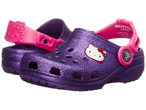 Crocs Kids - Hello Kitty Glitter Clog (Toddler/Little Kid) (Neon Purple) Girls Shoes