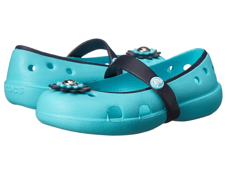 Crocs Kids - Keeley Petal Charm Flat (Toddler/Little Kid) (Pool/Navy) Girls Shoes
