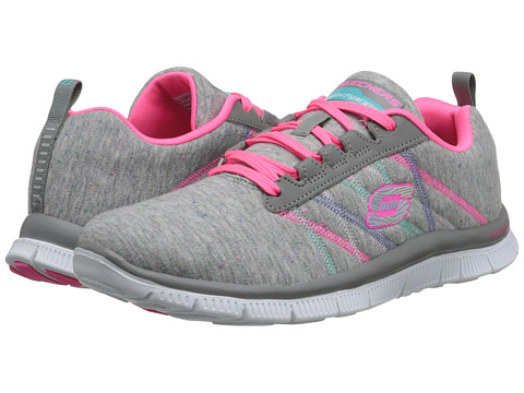 SKECHERS - Flex Appeal - Miracle Work (Light Gray/Pink) Women's Running Shoes