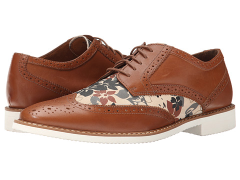 Stacy Adams - Sweeney (Tan/Floral Suede) Men's Lace Up Wing Tip Shoes