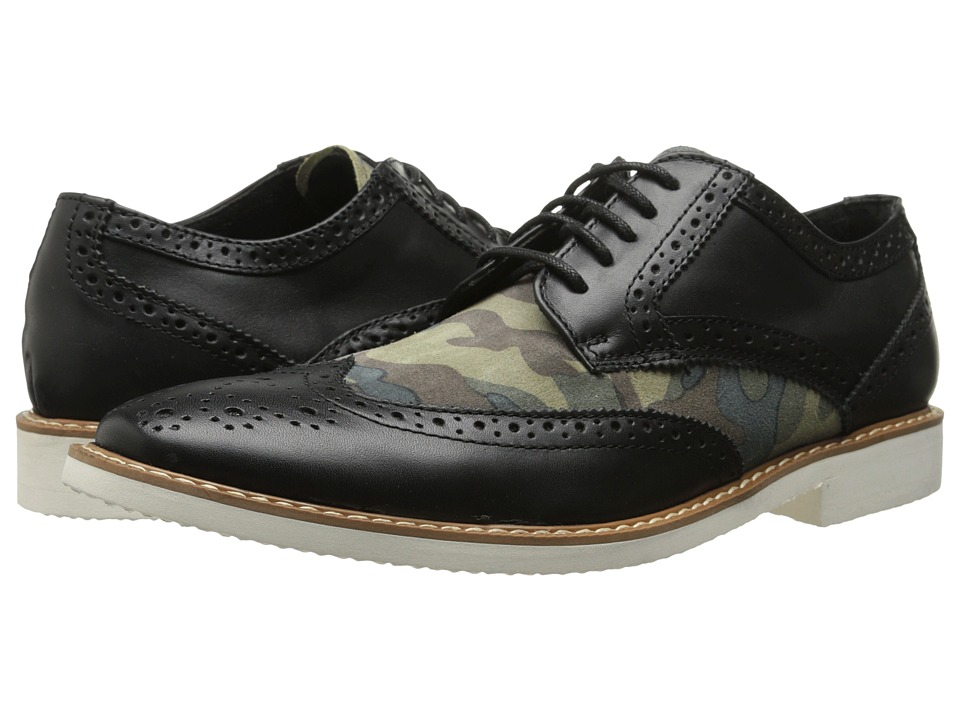 Stacy Adams - Sweeney (Black/Olive Camouflage Suede) Men's Lace Up Wing Tip Shoes