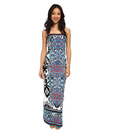 Hale Bob - Ikat Haze Tube Top Maxi Dress (Blue) Women