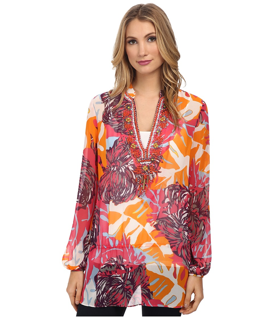 Hale Bob - Palm Play Beaded Tunic (Coral) Women