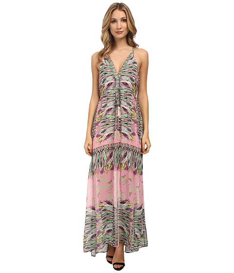 Hale Bob - Jungle Pop Halter Maxi Dress (Pink) Women