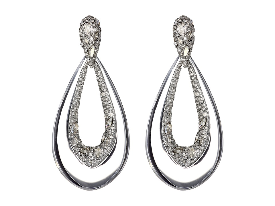Alexis Bittar - Encrusted Tear Dangling Clip Earrings (Clear) Earring