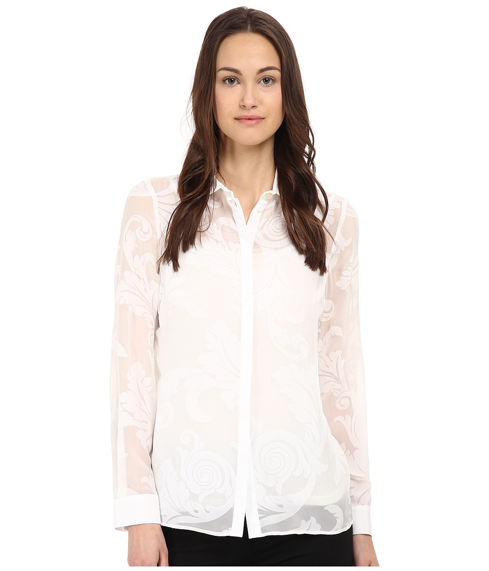 Versace Collection - Floral Print Sheer Blouse (Bianco) Women's Blouse