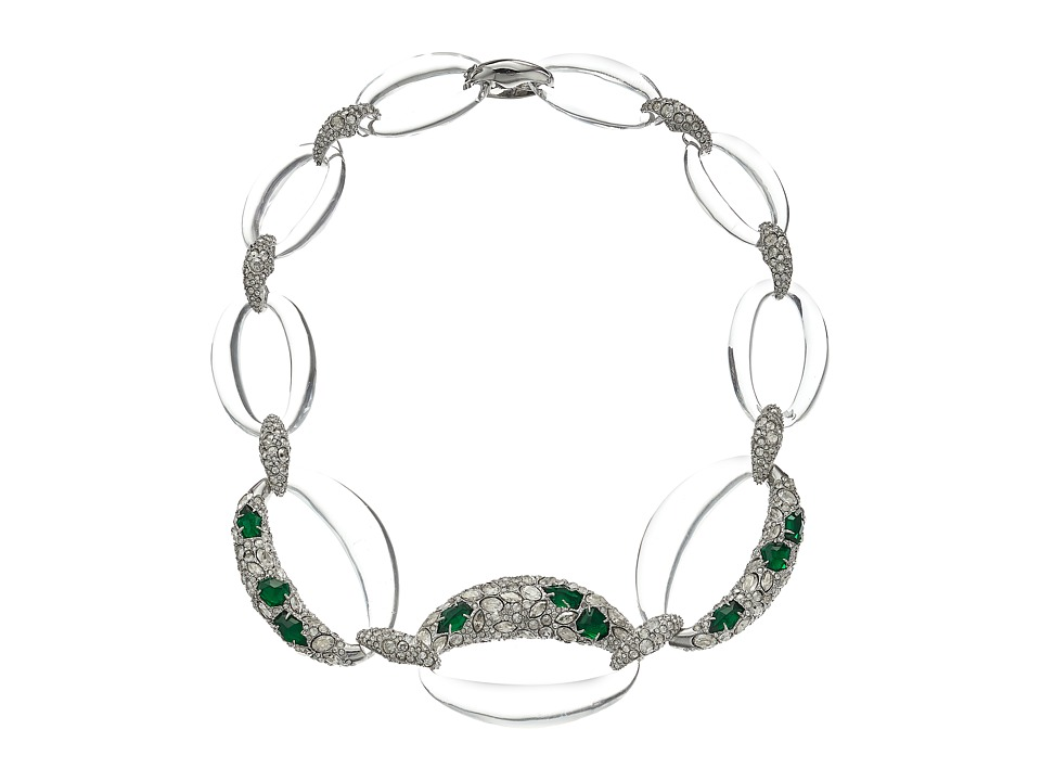 Alexis Bittar - Fancy Emerald Crystal Encrusted Link Necklace (Clear) Necklace