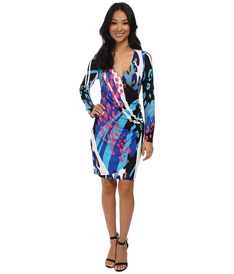 Hale Bob - Modern Animal Faux Wrap Dress (Blue) Women's Dress