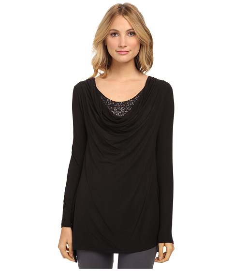 Lysse - Sequin Cowl Top (Black) Women's Long Sleeve Pullover
