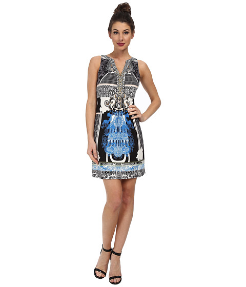 Hale Bob - Spring In The City Signature Dress with Chain Lace Up (Blue) Women