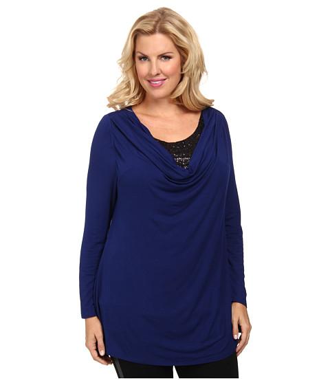 Lysse - Plus Size Sequin Cowl Top (Blueprint) Women
