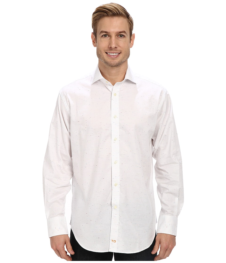 Thomas Dean & Co. - Confetti Weave L/S Woven Shirt (White) Men's Long Sleeve Button Up