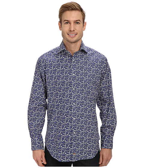 Thomas Dean & Co. - Paisley Print L/S Woven Shirt (Blue) Men's Long Sleeve Button Up