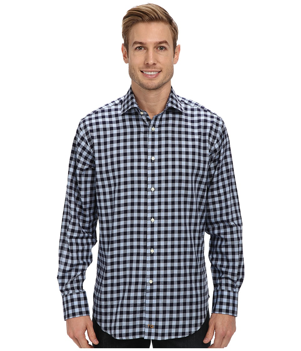 Thomas Dean & Co. - Graphic Check L/S Woven Shirt (Blue) Men's Long Sleeve Button Up