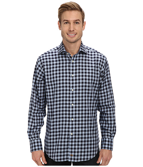 Thomas Dean & Co. - Graphic Check L/S Woven Shirt (Blue) Men