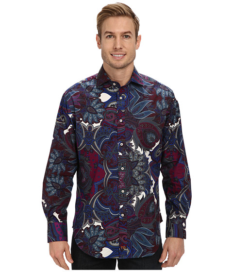 Thomas Dean & Co. - Exploded Paisley Print L/S Woven Shirt (Berry) Men's Long Sleeve Button Up