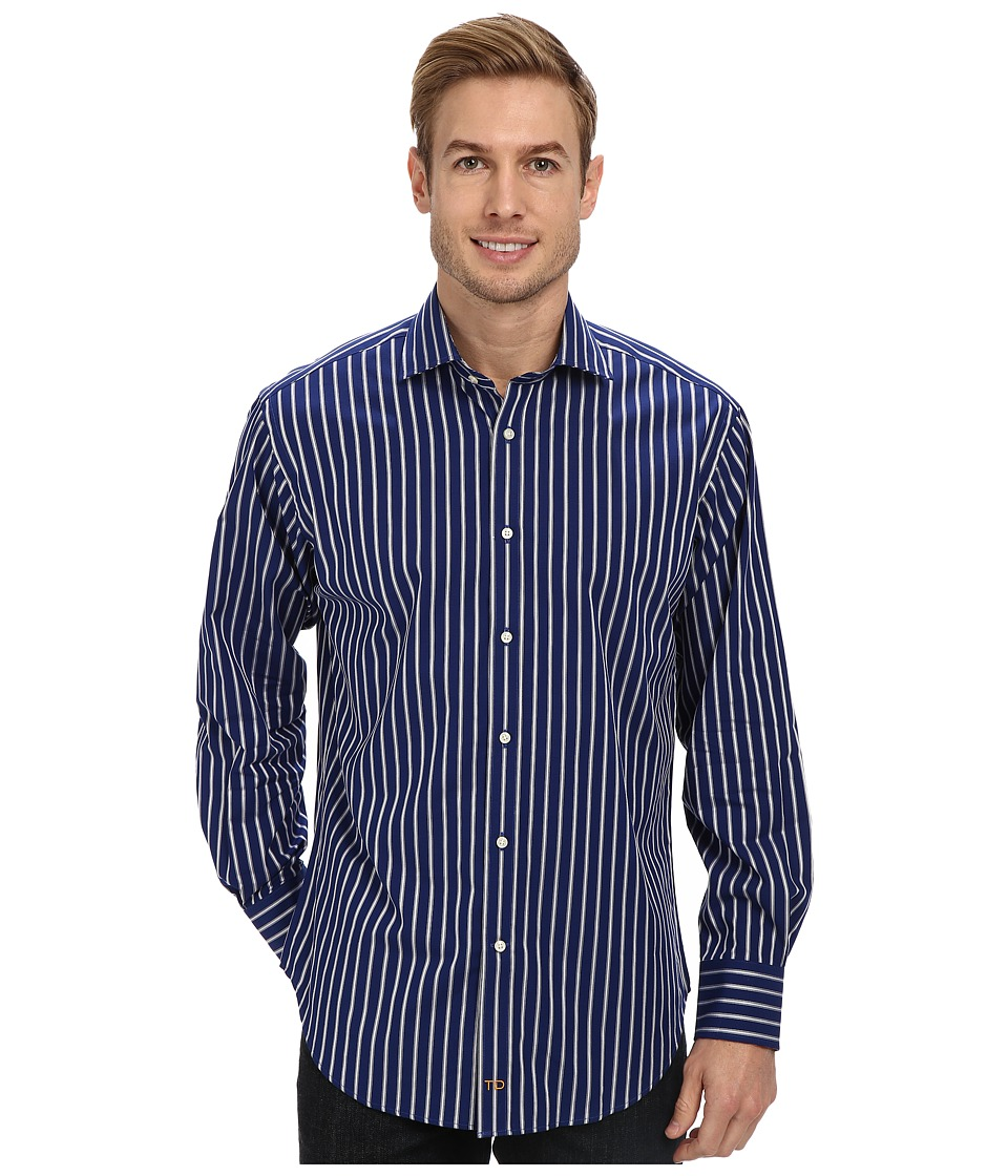 Thomas Dean & Co. - Fine Textured Stripe L/S Woven Shirt (Navy) Men's Long Sleeve Button Up