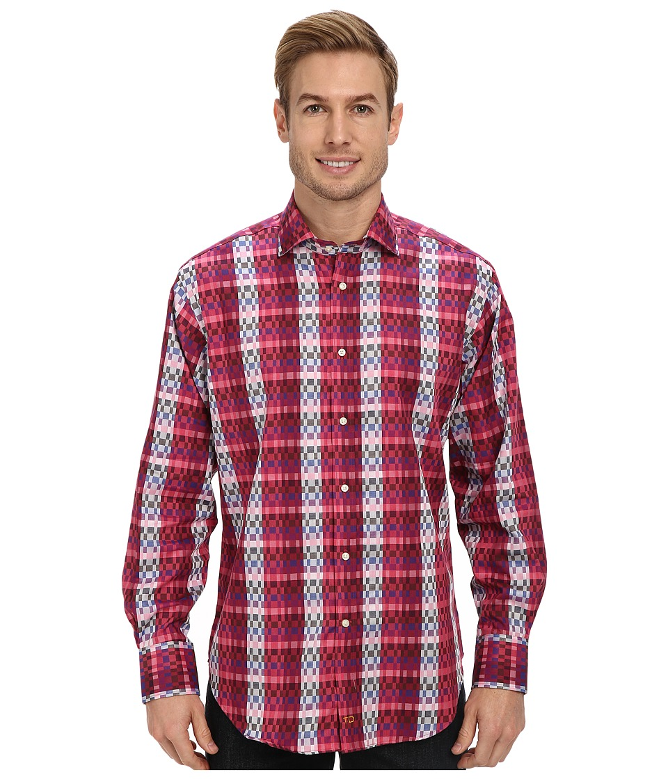 Thomas Dean & Co. - Ombre Check L/S Woven Shirt (Dark Pink) Men
