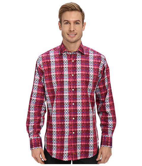 Thomas Dean & Co. - Ombre Check L/S Woven Shirt (Dark Pink) Men's Long Sleeve Button Up