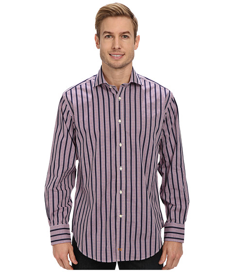 Thomas Dean & Co. - Mini Check w/ Stripe L/S Woven Shirt (Purple) Men's Long Sleeve Button Up