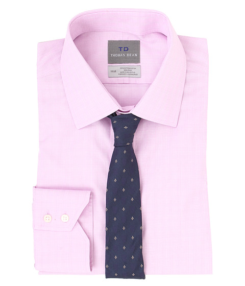 Thomas Dean & Co. - Non-Iron L/S Woven Dress Shirt w/ Point Collar Tonal Plaid (Pink) Men