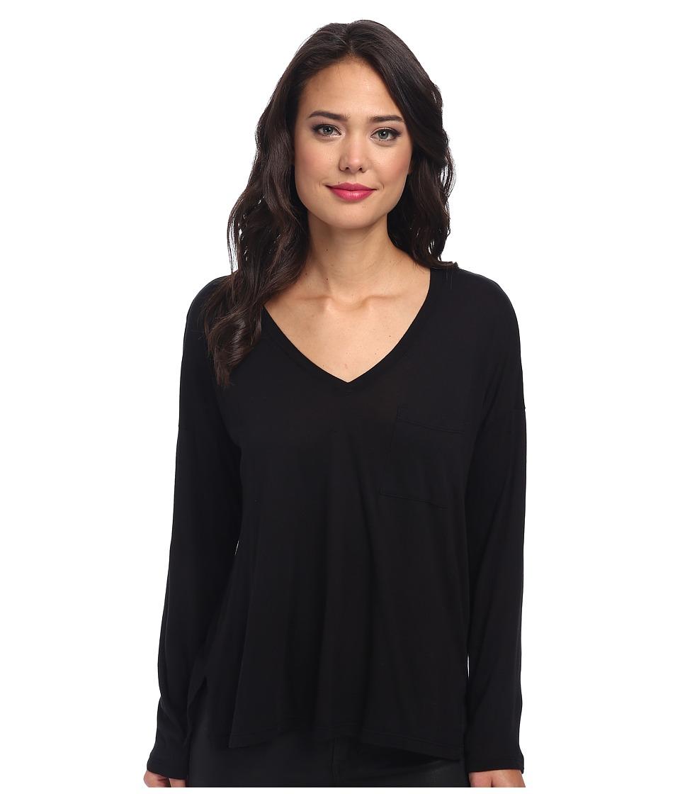 Splendid - Very Light Jersey Long Sleeve Tee (Black) Women's T Shirt