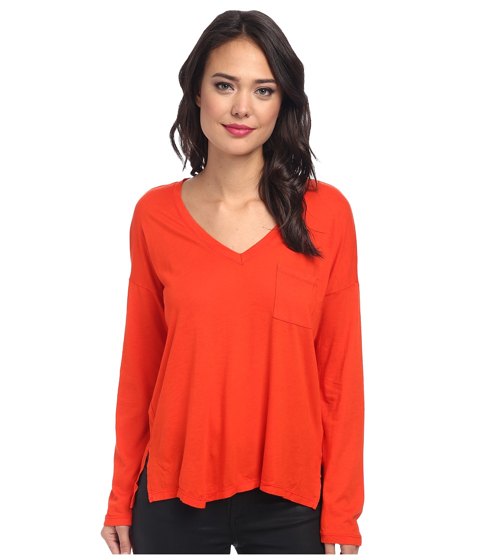 Splendid Very Light Jersey Long Sleeve Tee (Firecracker) Women