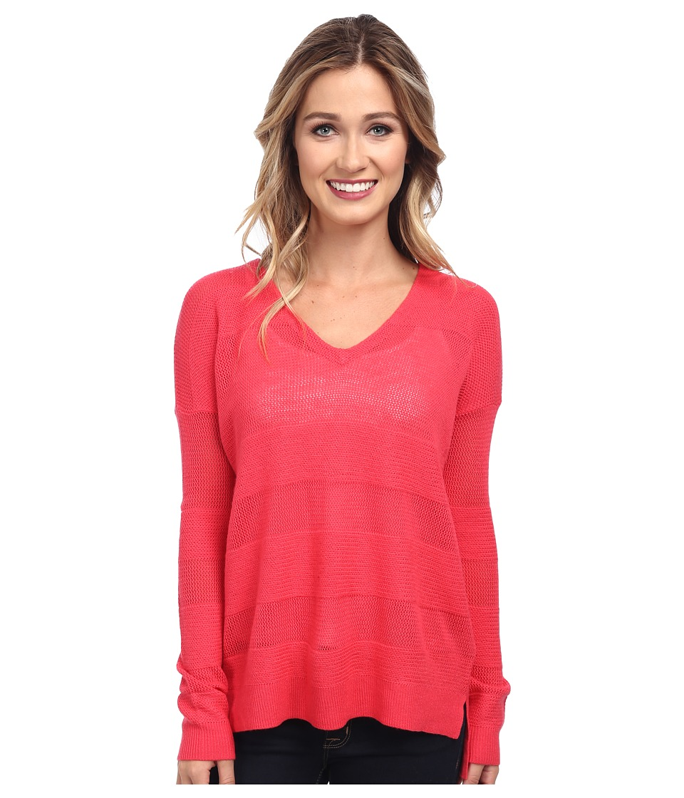Splendid - Cashmere Blend Shadow Stripe Sweater (Azalea) Women