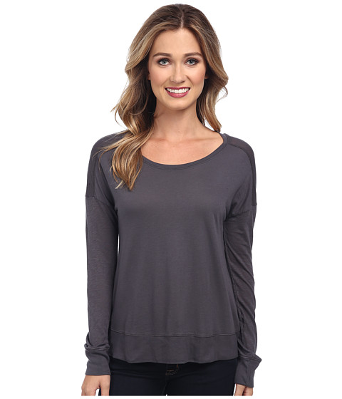 Splendid - Slub Long Sleeve Tee (Pewter) Women's T Shirt