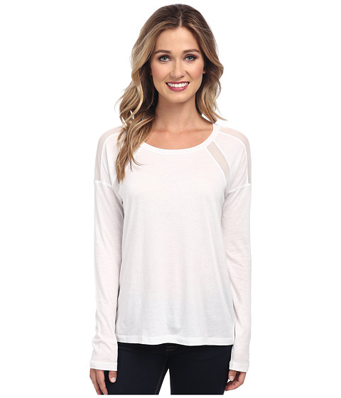 Splendid - Jersey with Mesh Long Sleeve (White) Women's Long Sleeve Pullover