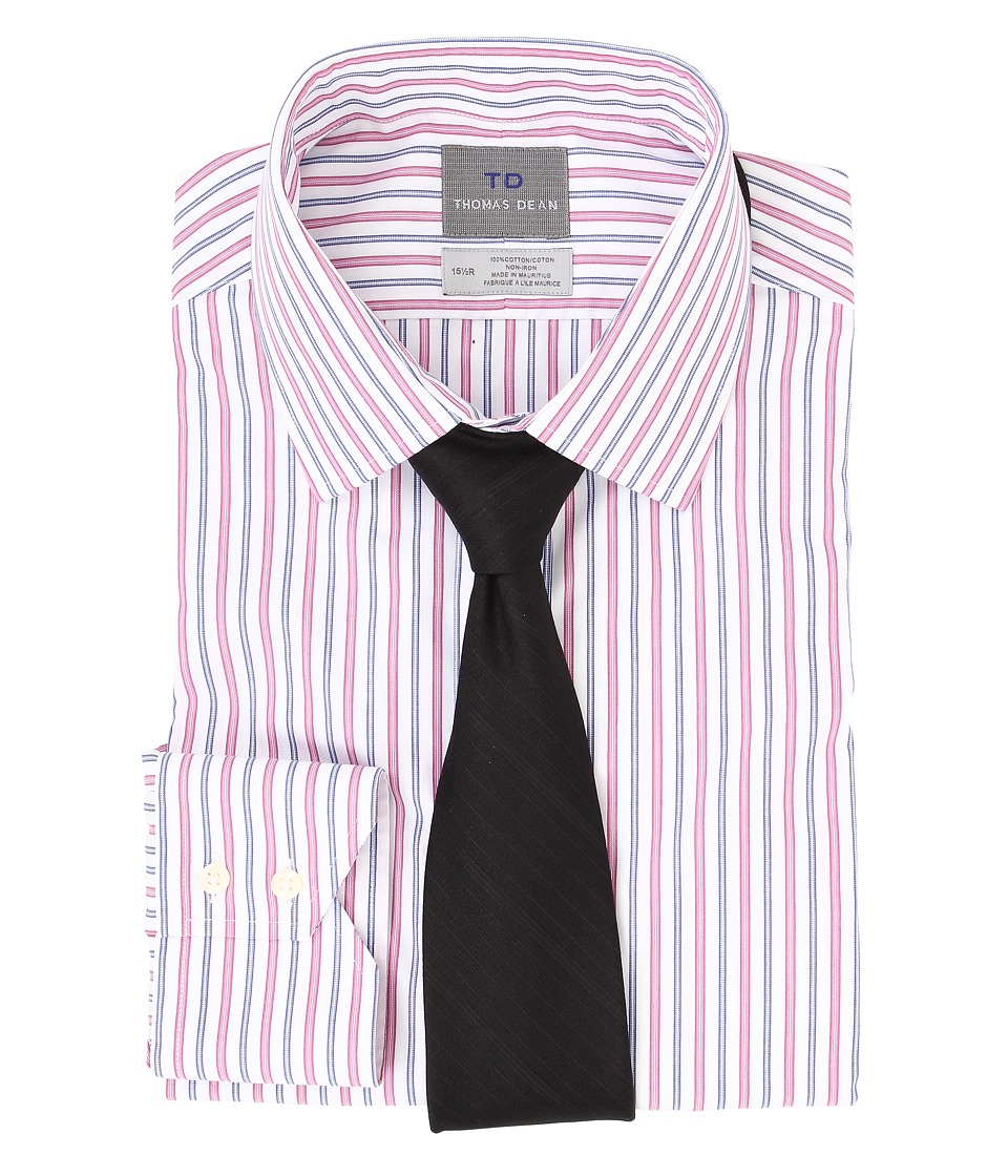 Thomas Dean & Co. - Non-Iron L/S Woven Dress Shirt w/ Point Collar Multi Stripe (Pink) Men's Long Sleeve Button Up