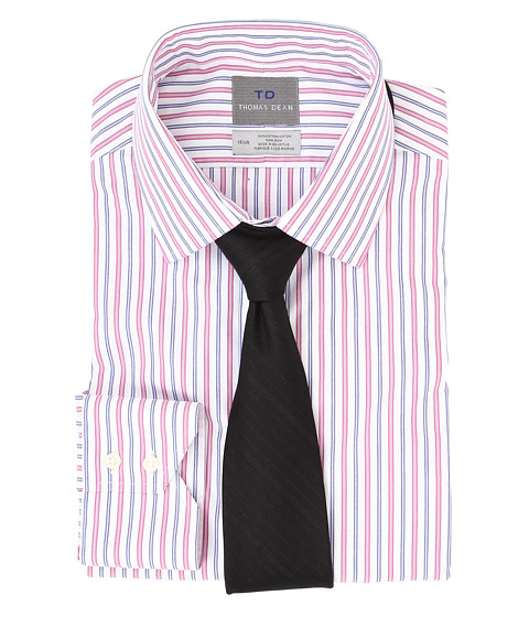 Thomas Dean & Co. - Non-Iron L/S Woven Dress Shirt w/ Point Collar Multi Stripe (Pink) Men