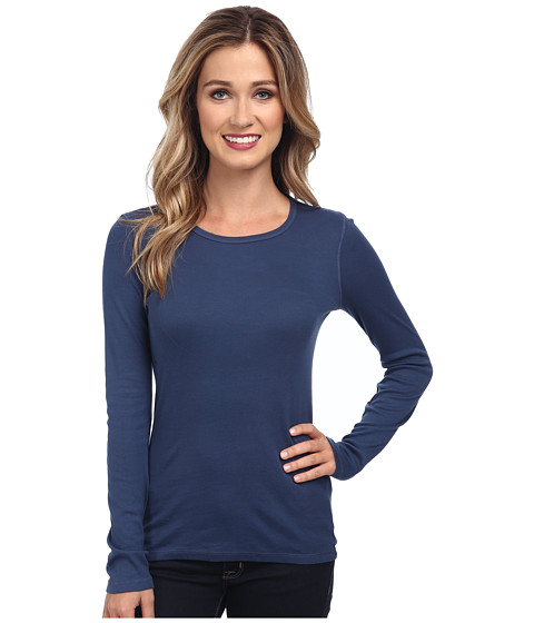 Splendid - 1x1 Rib L/S Crew Neck Tee (Blue Indigo) Women's Long Sleeve Pullover