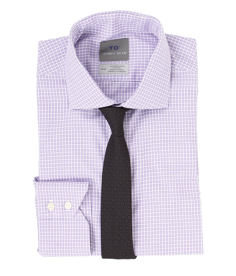 Thomas Dean & Co. - Non-Iron L/S Woven Dress Shirt w/ Spread Collar Fine Check (Purple) Men's Long Sleeve Button Up