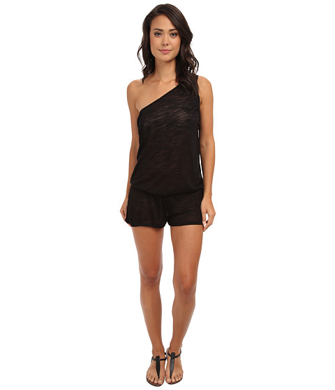 Vitamin A Swimwear - Lola One Shoulder Romper Cover-Up (Black Shantung) Women's Jumpsuit & Rompers One Piece