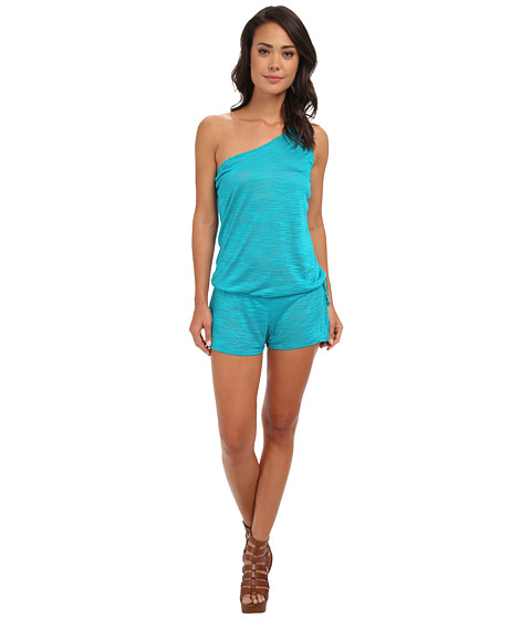 Vitamin A Swimwear - Lola One Shoulder Romper Cover-Up (Aruba Shantung) Women