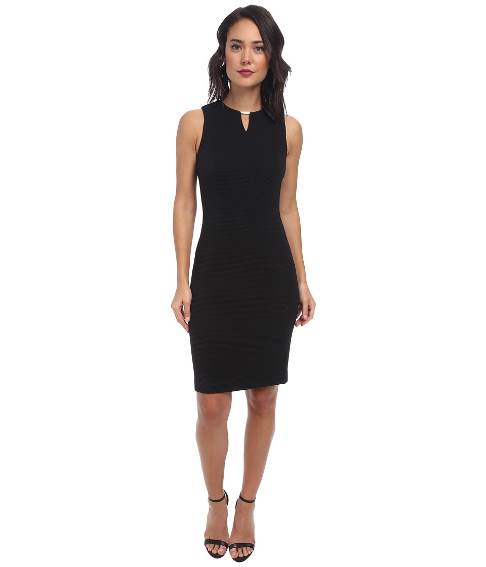 Calvin Klein - Textured Rib Dress (Black) Women's Dress