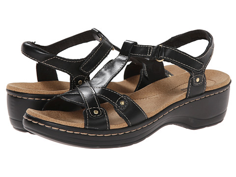 Clarks - Hayla Flute (Black Leather) Women's Sandals
