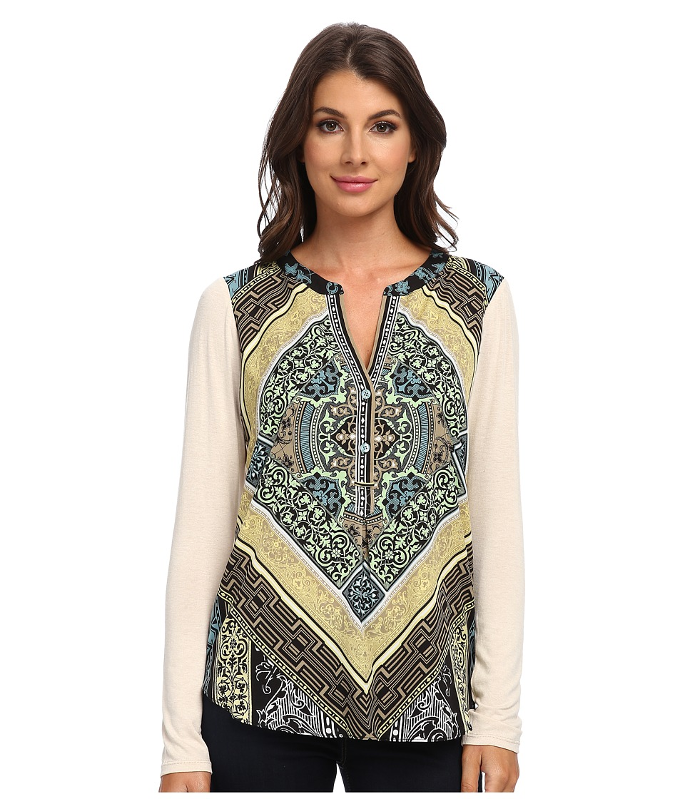 Hale Bob - Graphic Edge Mix Media Top (Taupe) Women's Blouse