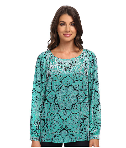 Hale Bob - Winter Romance Burnout Blouse (Teal) Women's Blouse